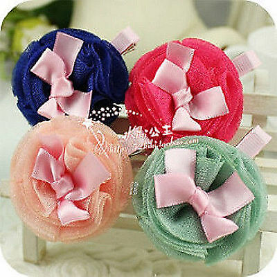 Baby Kids Girls Children Yarn Lace Bow School Angle Sweet hair flower Head Clip