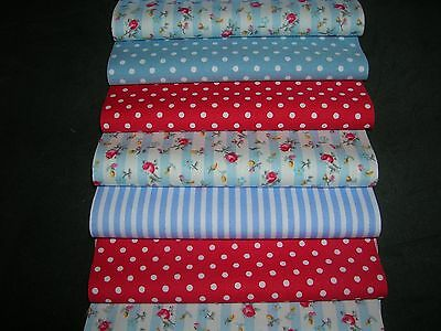 """32 x 5"""" CHARM PACK RED & BLUE  100% COTTON PATCHWORK/QUILTING/CRAFTS RBE"""