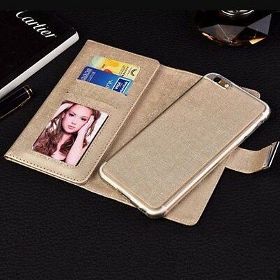 Leather Case Magnetic Detachable Wallet Card Flip Cover For iPhone 6 6S Plus