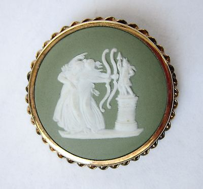 Carved WEDGWOOD England Cameo PIN/Brooch-Gold-Plated BRASS FRAME-Ladies w/BOWS
