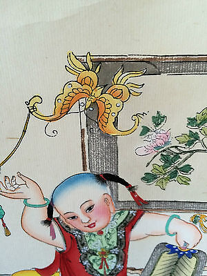 Chinese New Year Woodblock Scroll Children Bats Butterfly Peaches On Silk