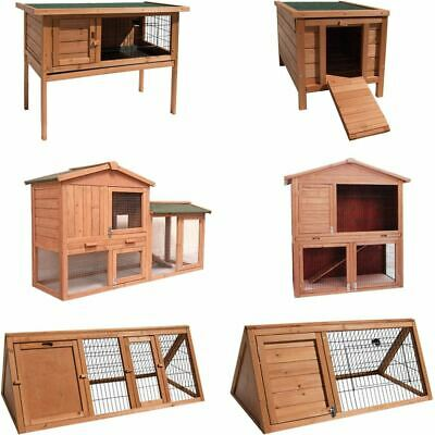 Pet Hutch Large Tiered Double Brown Wooden Rabbit Animal Guinea Pig Garden House