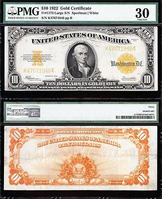 AWESOME Bold & Crisp VF++ 1922 $10 *GOLD CERTIFICATE*! PMG 30 FREE SHIP 47671846