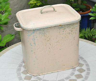 Vintage Retro Shabby Painted Enamel Bread Bin / Crock with Lid. Wirral