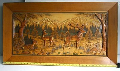 Folk Art Hand-CARVED WOOD Painting/Plaque-DEER/STAG Country Mountain Scene-FRAME