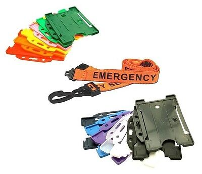 EMERGENCY SERVICES  Lanyard & Landscape ID Card Holder - Police Fire Ambulance