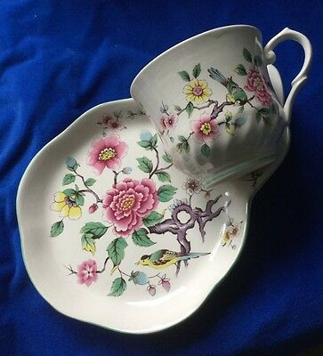 Vintage Old Foley James Kent England Chinese Rose Cup Saucer  - Tea For One