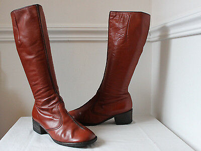 Vintage 60s 70s brown leather long mod calf boots UK 5 womens retro riding