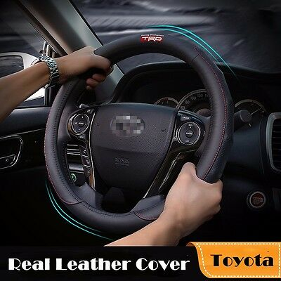 1PC Black Genuine Leather Car Steering Wheel Cover, Auto Accessories For Toyota