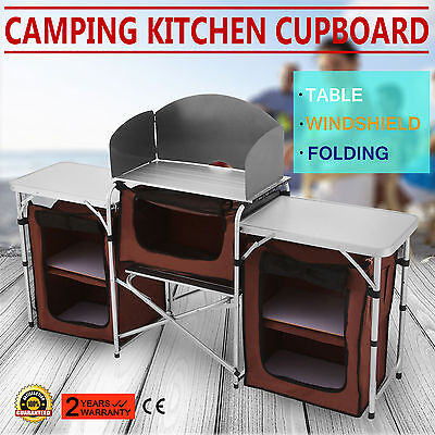 New Folding Camping Kitchen Picnic Cabinet Table Cupboard Cooking Travel Sale