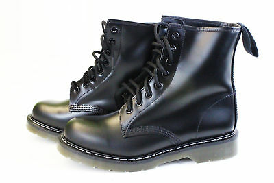 BRITISH-MADE Solovair non-safety 8 eye black air-cushion sole boot size 7-11