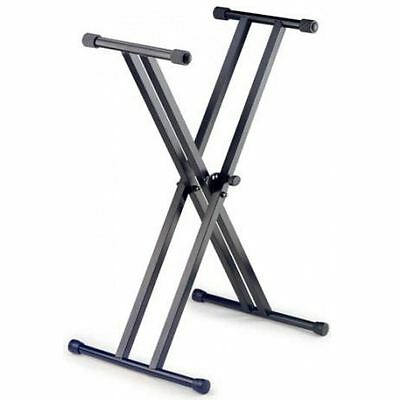 Stagg Keyboard Stand, Double X, 69-99cm Height, 5 Postions,Max Load 30kg, Black
