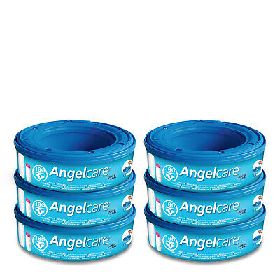 Angelcare Nappy Disposal System - Improved Nappy Bin Refill Cassettes 6-pack