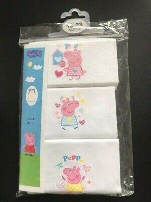 Peppa Pig Baby Girls Pink/White  Vest Underwear Pack of 3 Age 18 24 Months BN