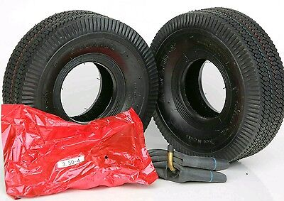 2x Black Tyres & Tubes 4.10/3.50-4 For Mobility Scooter