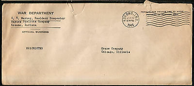 USA WW2 WWII Official War Department Cover 1945 Kokomo Indiana to Chicago
