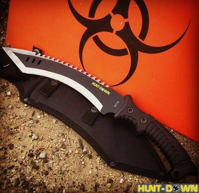 "16"" Hunt-Down Full Tang Hunting Knife with Black Rubber Handle"