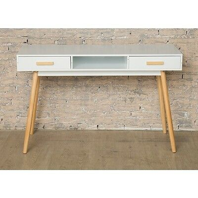 Retro Office Desk Furniture Vintage Home Writing Computer Table 2 Drawers Shelf