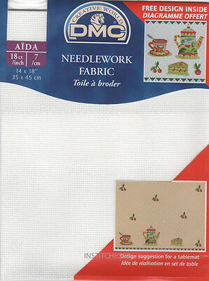 DMC 18 Count Aida For Cross Stitch White