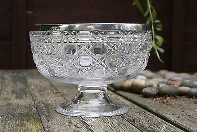 Antique Victorian Lead Crystal Bowl with Sterling Silver A & N C S L Rim