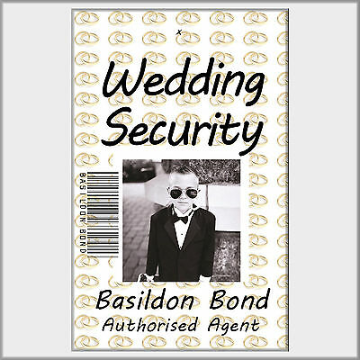 Wedding Security or Ring Security Photo ID Card. Childs ID Badge with Free Clip.