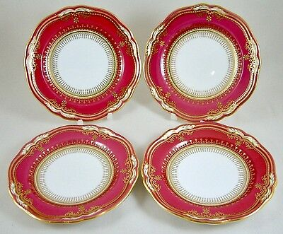 "Spode China England Lancaster Crimson 6"" Side/tea/bread Plates X 4 R8952 1St"