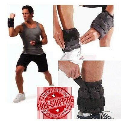 Adjustable Ankle Weights 2 Pack Set 20 lbs Pair Wrist Gym Leg Fitness Removable