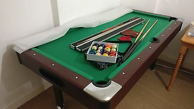 Pool table+Handmade Cue+Case+2 Generic Cues+Balls+Triangle+Accessories