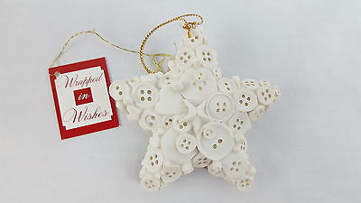 STAR Christmas Ornament White Heavy designed with Buttons Handcrafted
