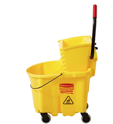 NEW Rubbermaid Commercial 35 Quart Wavebrake Rolling Mop Bucket Wringer Yellow