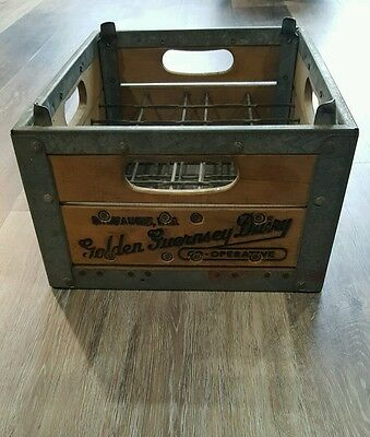 Vintage Wooden Milk Crate Golden Guernsey Dairy Co. Milwaukee WI