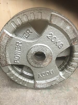 X 2 - 20 Kg Cast Iron Tri Grip Olympic Weight Plates