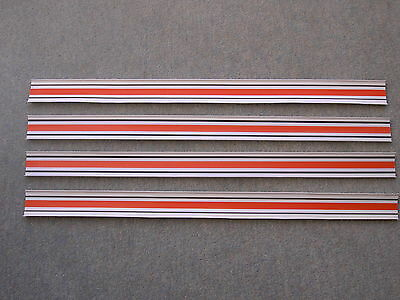 Vintage Matchbox Superfast Track Lengths x 4, White, black & red stripes, 1970s