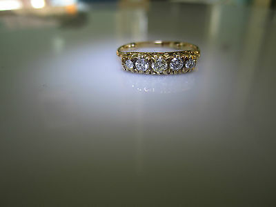 fine vintage 18ct Gold 5 Stone  old cut Diamond Ring great sparkle !! lovely !!