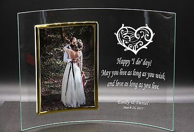 Personalised Wedding Valentine's Day Gift Idea Curved Glass Photo Frame 4 x 6
