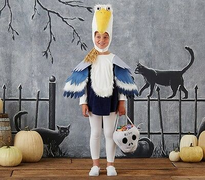 New 2Pc POTTERY BARN KIDS HALLOWEEN COSTUME 7-8 Pelican One Piece and Head Blue