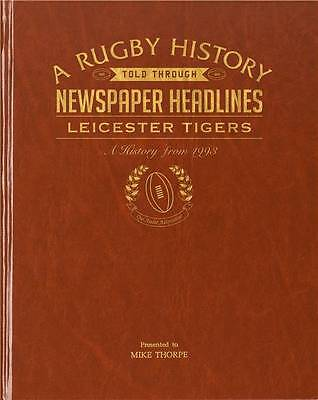 Personalised Leicester Tigers Rugby Club Newspaper Book Sport Memorabilia Gift