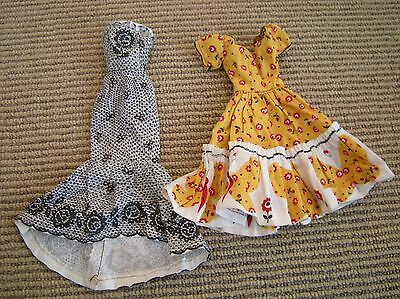 Vtg Dress Lot for Barbie Cut & Sew Yellow Red Floral Black White Lace Print