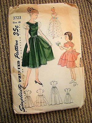 UNCUT Vtg 1950s Simplicity Girls 10 yrs Party Dress Pattern 3723 Full Skirt