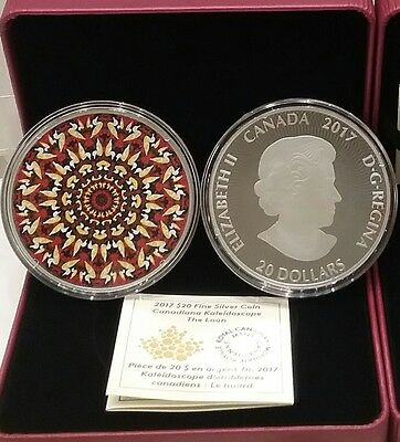 The Loon Kaleidoscope Canadiana $20 2017 60mm 1OZ Pure Silver Proof Coin Canada.