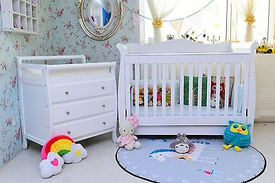 3 in1 wooden Sleigh Baby Cot crib White with drawer toddler bed & Change Table