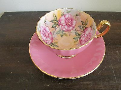 Vintage Aynsley England Bone China Tea Cup And Saucer Large Cabbage Roses Pink