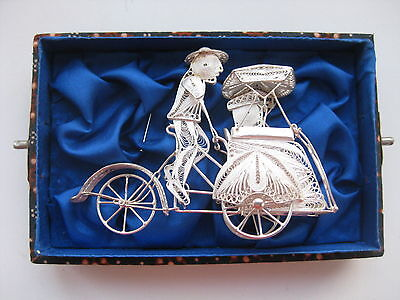 Old Silver Filigree Rickshaw Hand Made