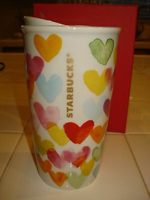 2015 Starbucks Dots Collection White Multi Colored Hearts Ceramic Mug 12oz NIB