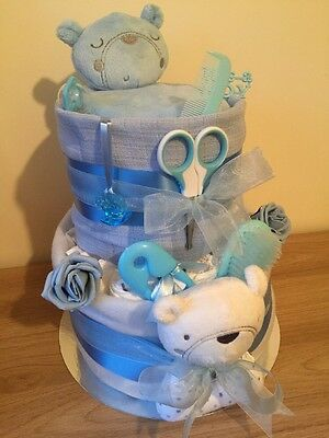 Nappy Cake Baby Boy Blue Baby Shower Gift New Mum Maternity Teddy Cake With Toy