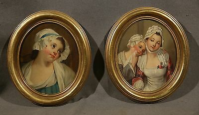 In Style of Jean Baptiste Greuze (FRENCH, 1725-1805) Pair Oval Woman Portraits