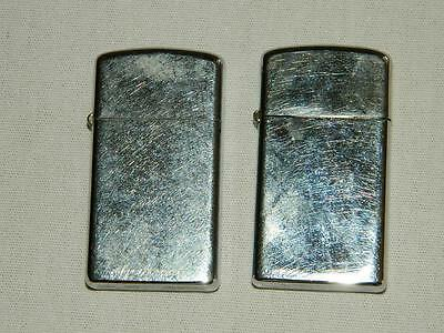 Lot Of 2 Vintage Zippo Slim Lighters