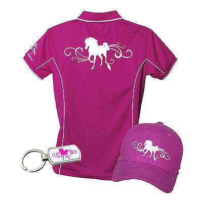 Horse Polo Shirt Gift Pack Polo, Cap & Key Ring Horse With Scrolls Brand New