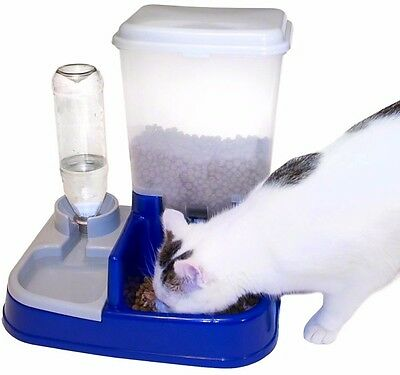 Pet Cat Dog Dry Food Water Dispenser 2 in 1 Automatic Feeder Station Easy Clean
