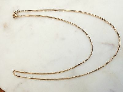 "9ct yellow gold 22"" long Chain faceted Curb link 375 9k necklace"